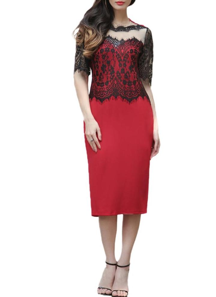a7c4b0d2c18 m rouge Embroideried See Through Midi Robe de cou en dentelle ronde ...