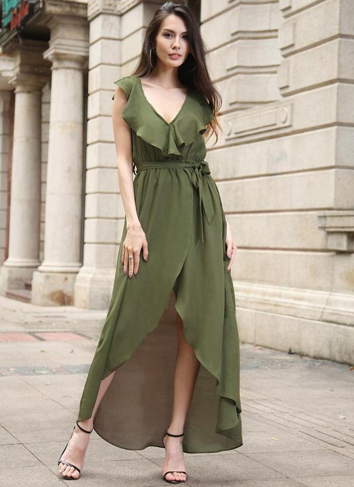 c5fa4667c33a1e Maxi vestito elegante V profonda elastico in vita asimmetrici delle donne  di alta Ruffle