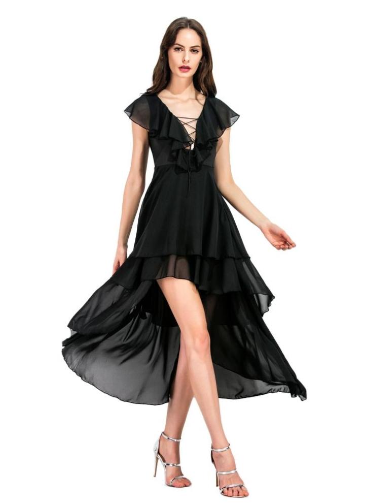 schwarz l Frauen Chiffon-Kleid Dekolleté mit V-Ausschnitt Rüschen ...