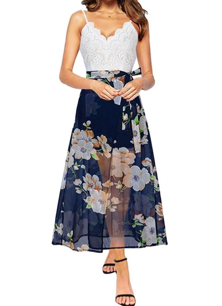 7b5c32591655 dark blue m Fashion Backless Floral Print Chiffon Dress Lace V Neck Women's  Long Dress - Chicuu