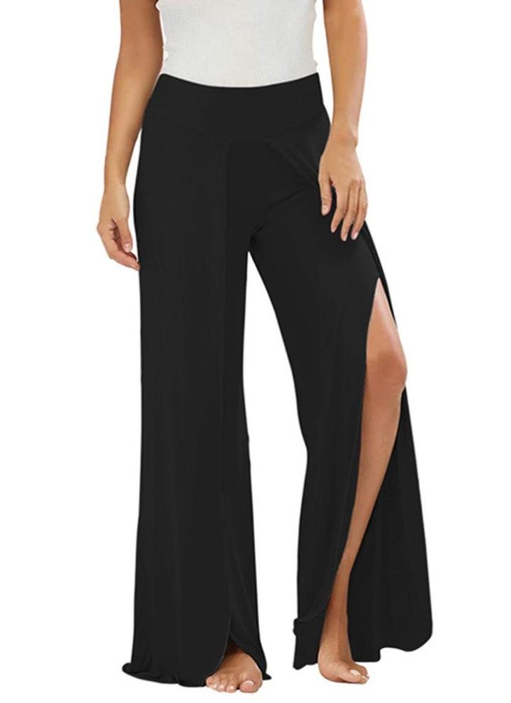 9277d4e4f03b Summer Women High Split Flowy pantalons larges pantalons femme