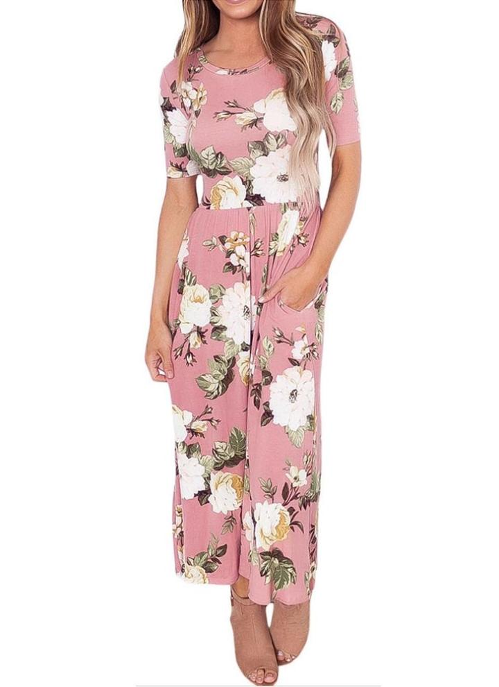 8a2e3eb107ac Vestito da donna alla moda degli alti talloni delle tasche laterali di stampa  floreali di modo