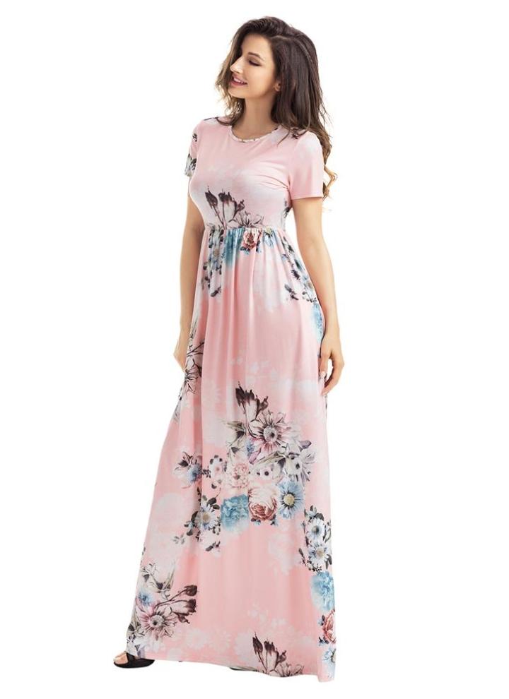 Vestito maxi delle donne di disegno della tasca del fiore floreale di  Bohemian dell annata 005bb55428c