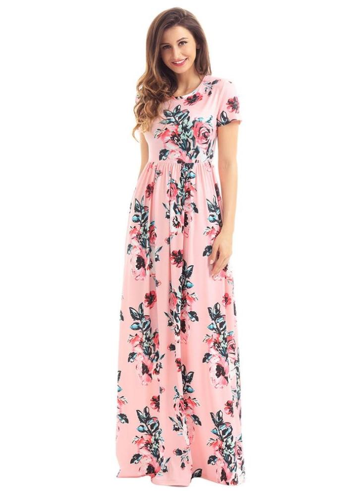 3c19e939fdc8 Vintage Bohemian Floral Flower Print Pocket Design Women s Maxi ...