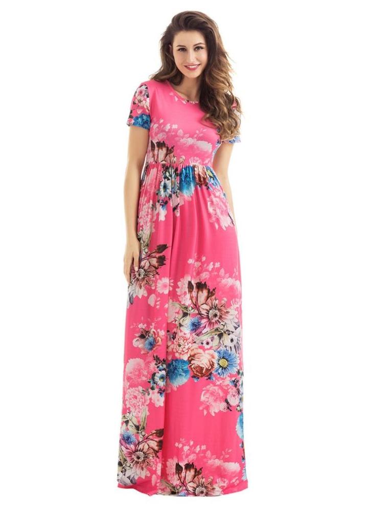 bd11085e5c20 Vestito maxi delle donne di disegno della tasca del fiore floreale di  Bohemian dell annata