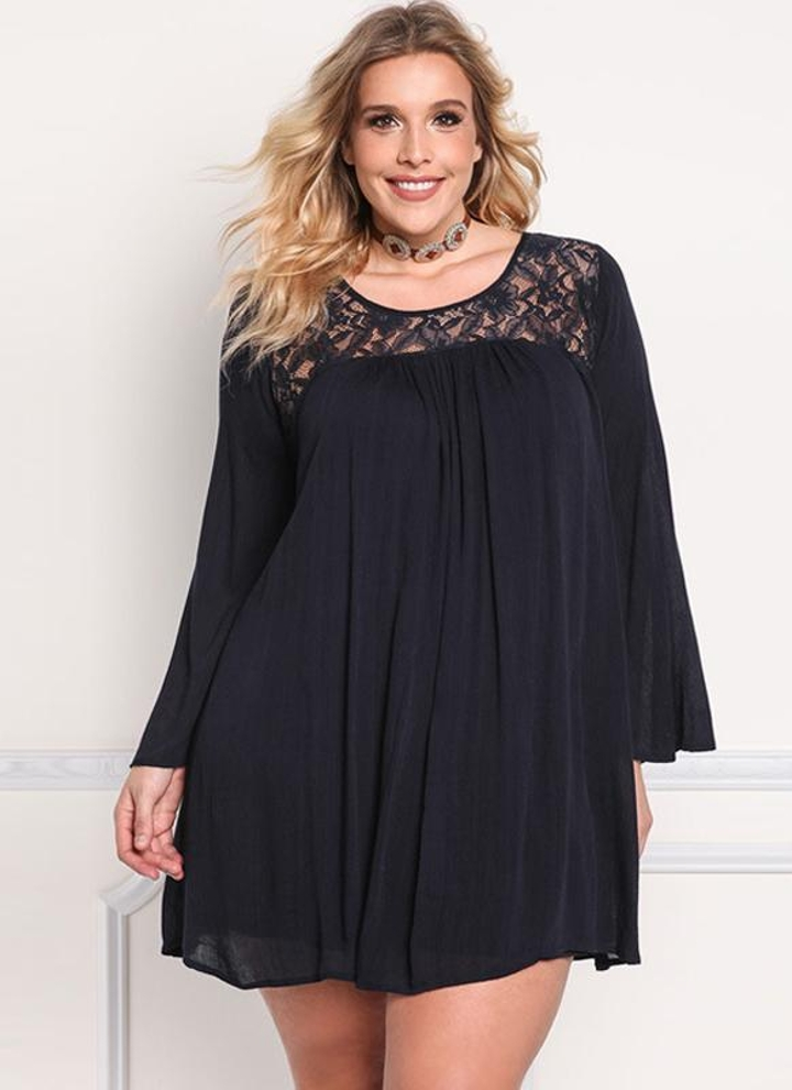 Sexy Chiffon Floral Lace Long Sleeve Casual Women s Plus Size Dress 36f82d156a84