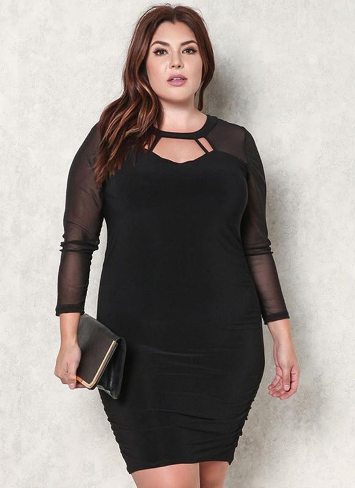 Sexy Sheer Mesh Splicing Cutout Front Bodycon Women s Plus Size Dress 4be6081e10d1