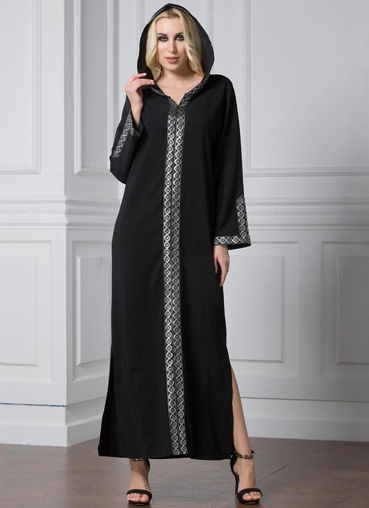 96590e18219 Moda Oriente Oriente con capucha Slit musulmana Robe islámica de largo  vestido de las mujeres