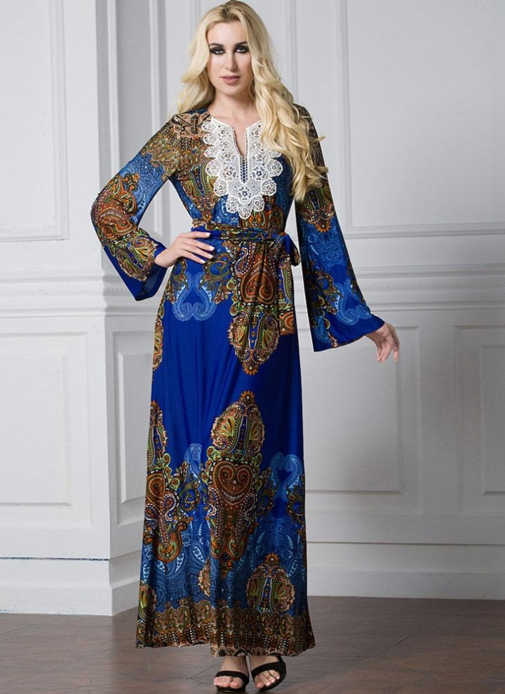 ef8ddd79278d Bohemian Flare Sleeve Muslim Robe Islamic Arabia Women s Long Dress