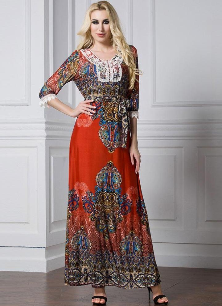 Bohemian Print Lace Splice with Belt Women s Plus Size Maxi Dress f04c29552067
