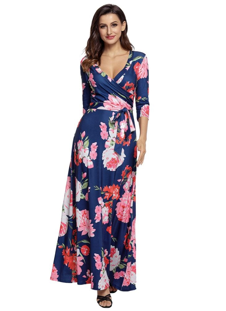 Boho Floral Print Deep V Neck Cropped Sleeve Slim Belted Women s Long Dress e6aa44f89