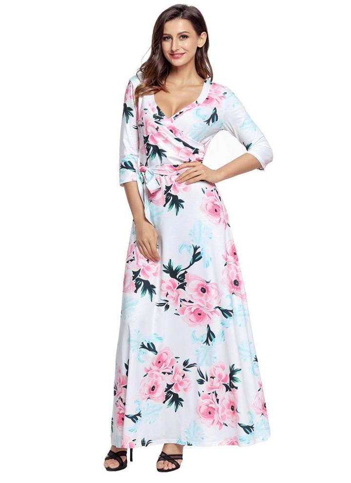 Boho stampa floreale profonda V collo manica corta sottile vestito lungo delle  donne con cintura 167ad2efec4