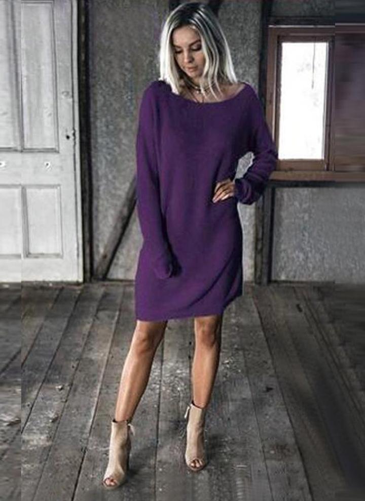 xxl púrpura Vintage mujeres hechas punto vestido recto sólido caído ...