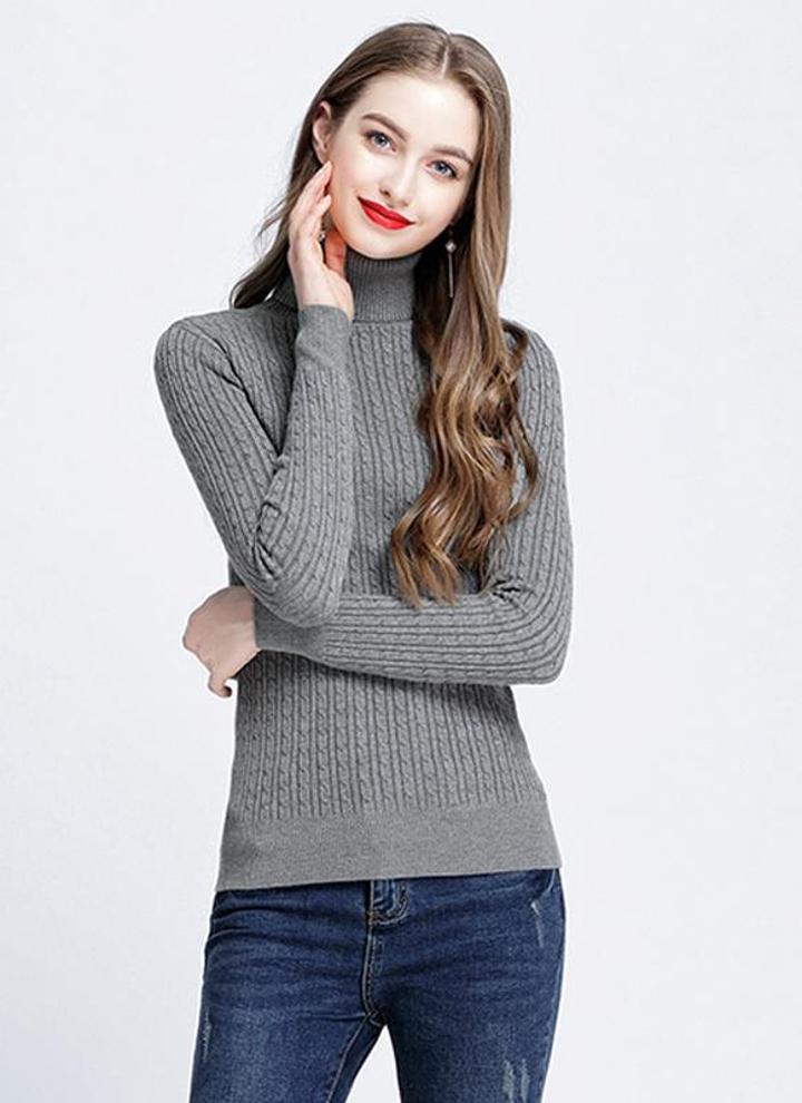 70e6869ecda90e grigio scuro l Moda donna Solid Twist maglia maglione - Chicuu