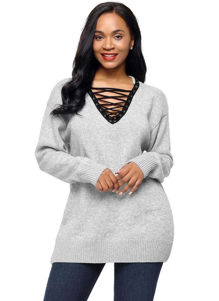 Xl серый вязаный шнурок вверх пуловер V образным вырезом с длинным