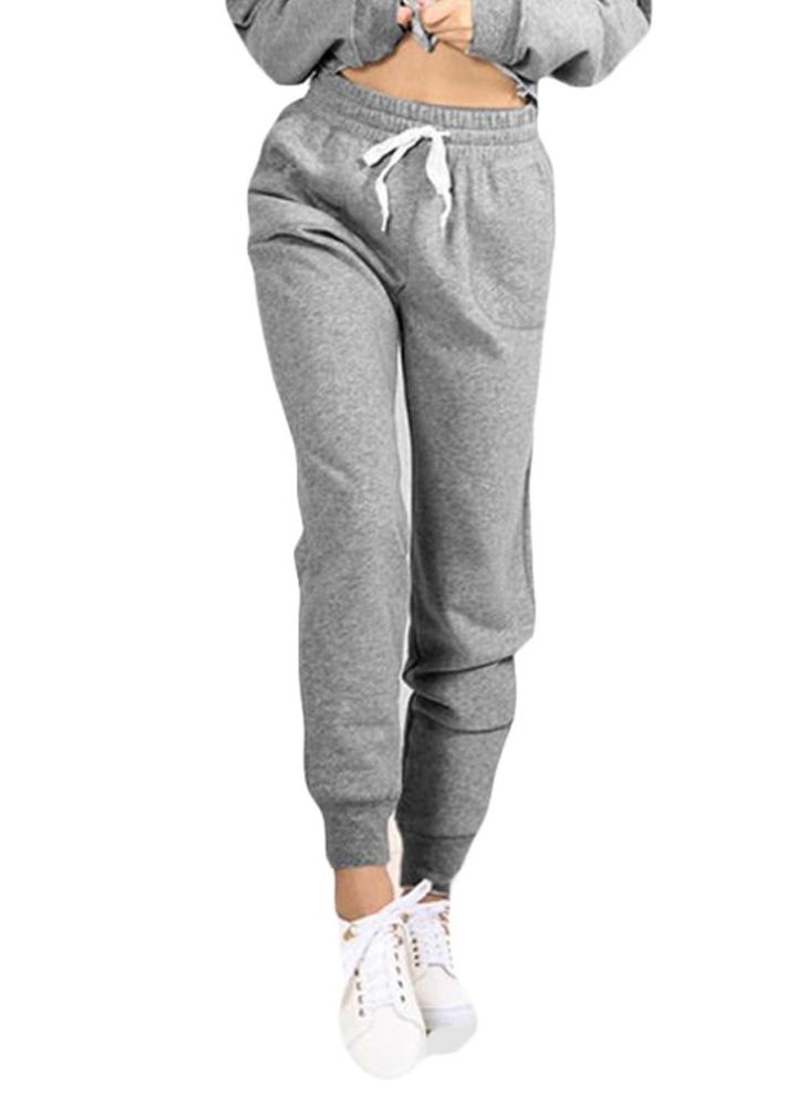 91d51cd56 Pantalones de yoga de deporte de la mujer bolsillos de cordón de la cintura  elástica pantalones de correr al aire libre