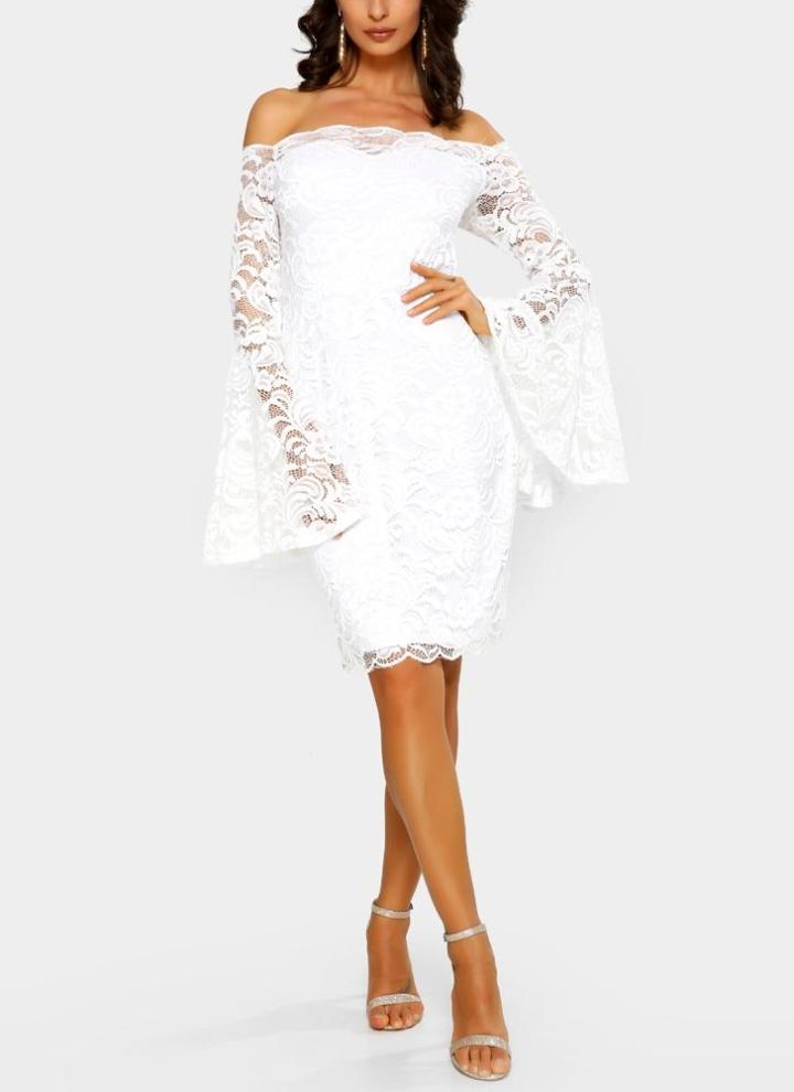 weiß l Sexy Frauen-Blumenspitze-Partei-Verein Bodycon Midi-Kleid ...