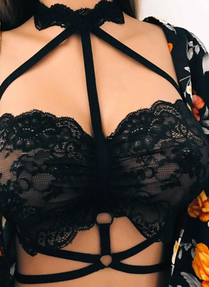 8fac4d2edc Sexy Women Lingerie Sheer Lace Strappy Bra Bondage Belt Erotic Crop Top  Bralette Underwear Black