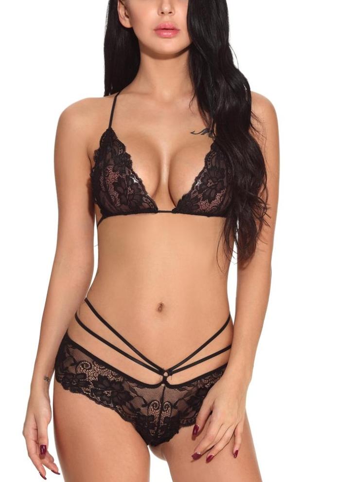 38cc1ca2eceed Women Lingerie Sheer Lace Bra Set V Neck Bralette Low Waist Strappy Panties  Underwear