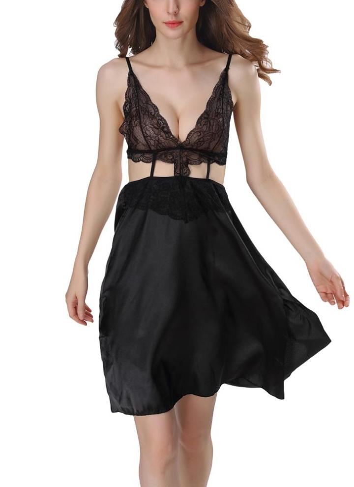 e3befbd6afe126 Women Lingerie Sleep Dress Semi-transparente Spitze aushöhlen Sleepwear  Nightgown Nachthemd