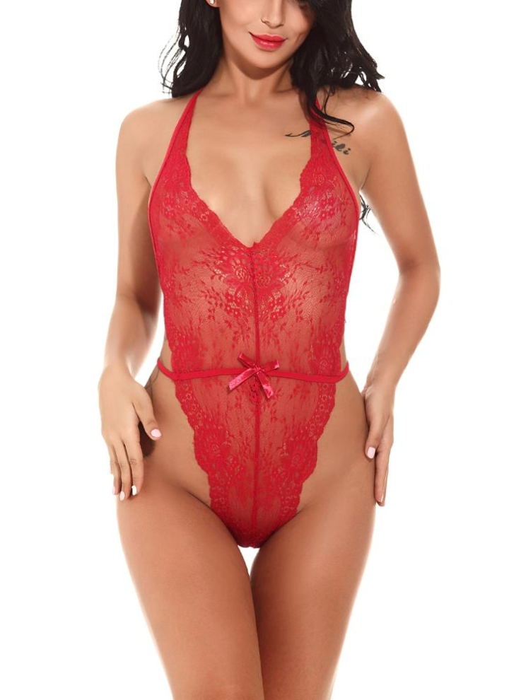 ea46fe899dae burgundy l Women Exotic Lingerie Bodysuit Solid See Through Floral Lace Bow  Sexy Teddies - Chicuu
