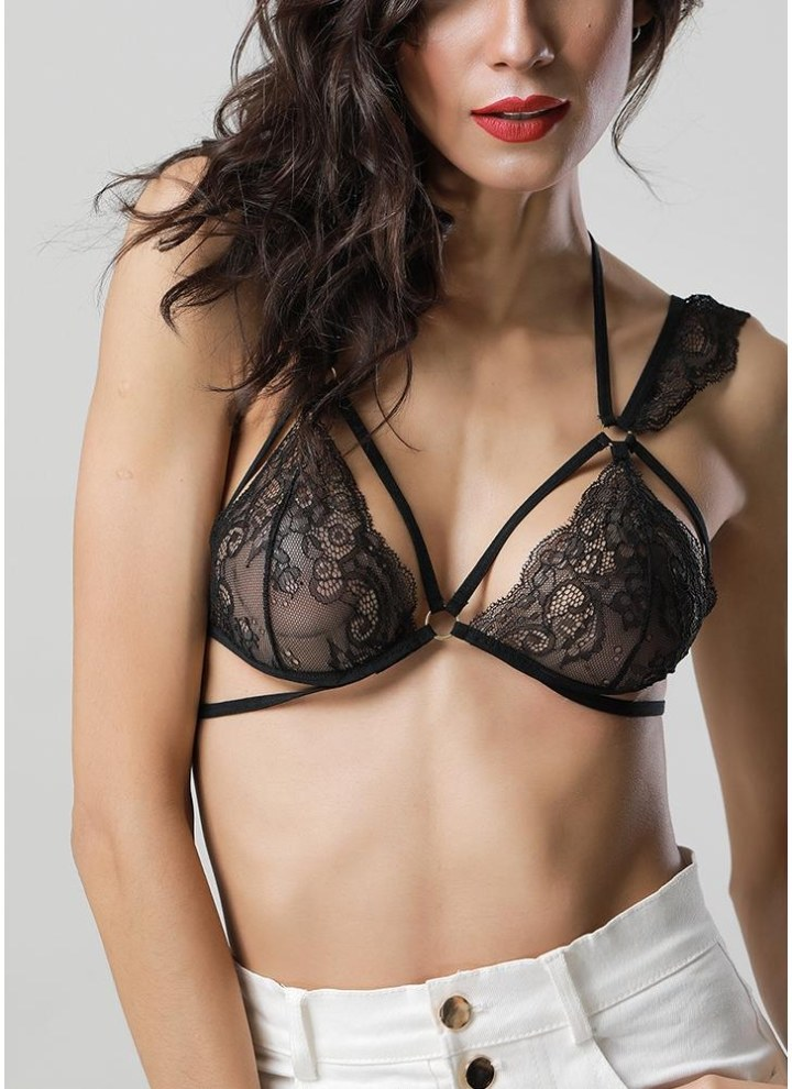 db39db35c4 Women Sheer Lace Bra Strappy O-ring Elastic Wireless Unpadded Cage Lingerie  Bralette