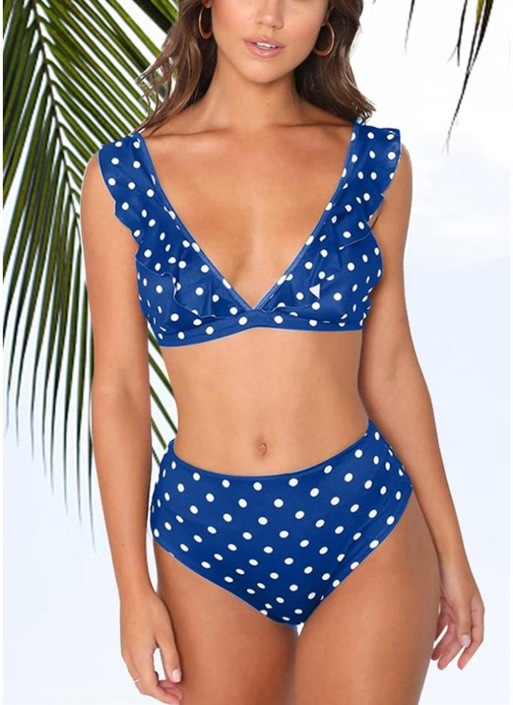 10c7912e0e7a Bikini con fondo a vita alta con stampa dot arricciata e reggiseno