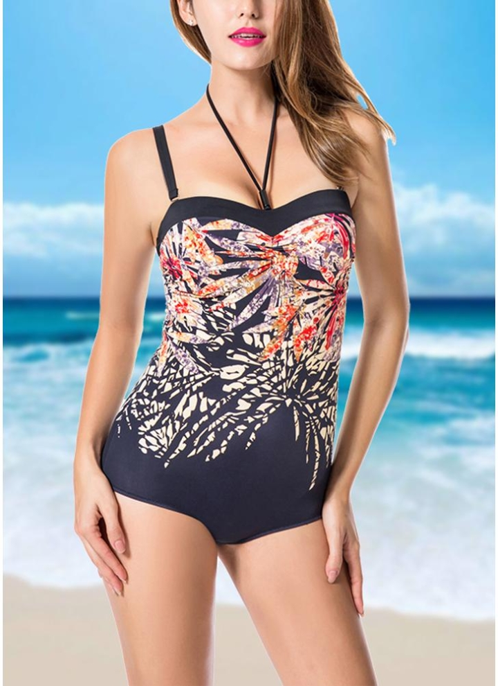 b002c9e030771 Plus Size Print Halter Backless Sleeveless Strappy One Piece Swimsuit