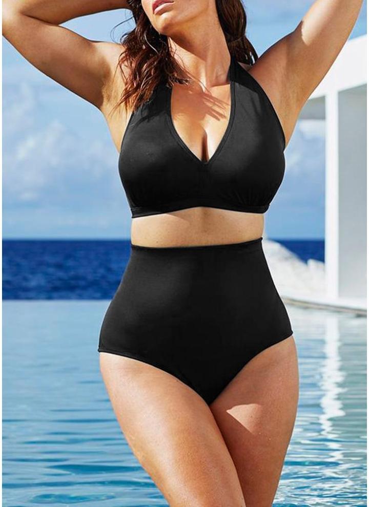 c28d9bbe7b3 black 3xl Plus Size Halter High Waist Push Up Bikini - Chicuu