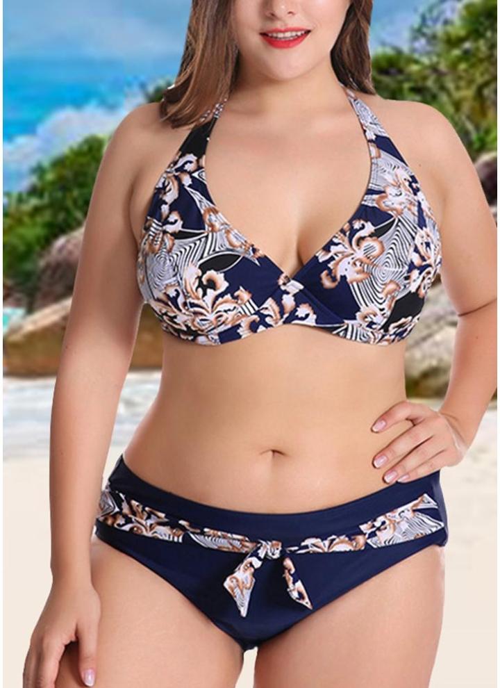 2b9353cb61c dark blue 4xl Plus Size Contrast Print Bikini Set - Chicuu
