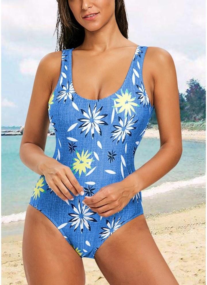 ffaf22158b39ce blau l Einteiliger Damen Badeanzug mit offenem Rücken High Cut Contrast  Print - Chicuu