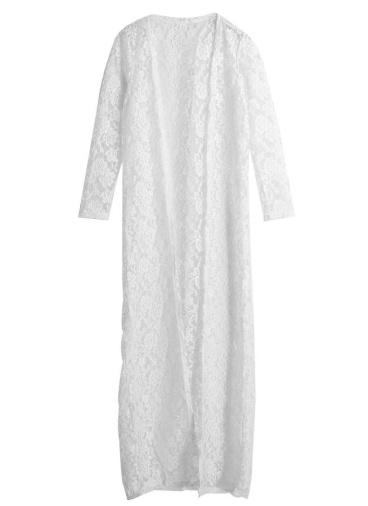 159cbc08e1116 Mulheres Lace Praia Cardigan Kimono longo Cover Up Crochet oco Out Biquini  Branco