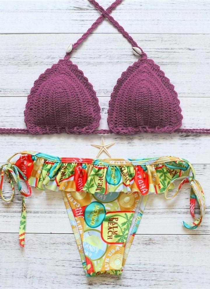 69957bbe33c31a Sexy Frauen-Bikini-gesetzte Badebekleidung Badeanzug Tie Neckholder  gekräuselten Padded zwei Stück Badeanzug Bademode