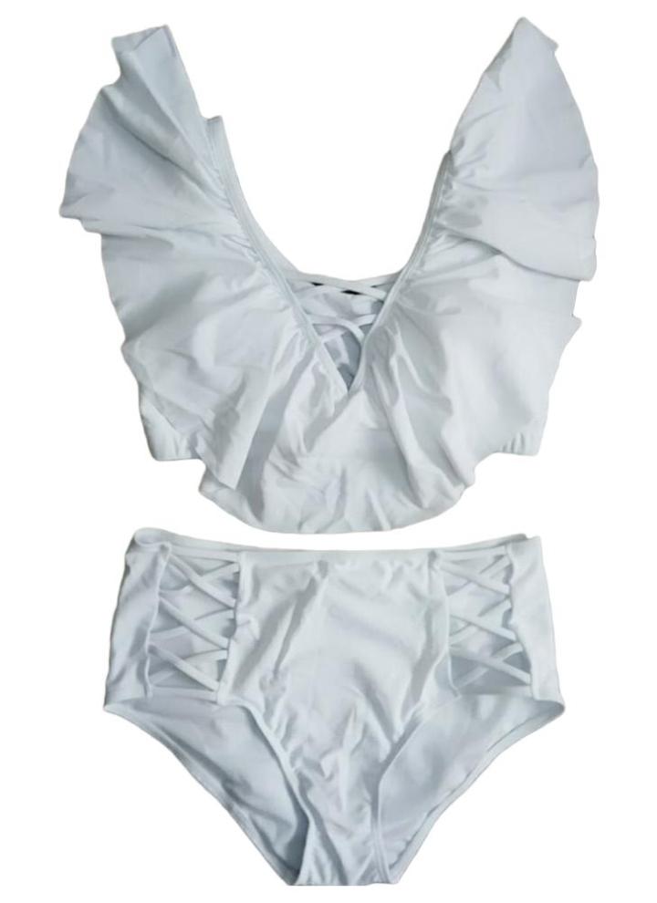 6eb6531eaba2 Las mujeres atractivas más el tamaño Bikini Set volantes impresos Ahueca  hacia fuera empujan hacia arriba traje de baño traje de baño de dos ...