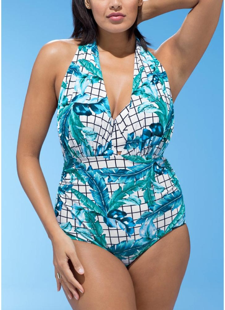 3dd04583414 white 4xl Plus Size Plaid Leaves Print Deep V Swimsuit Set - Chicuu