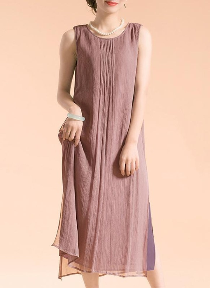 b372cd8cad5 New Vintage Women Sleeveless Dress Round Neck Lined Side Split Casual Summer  Loose Maxi Dress
