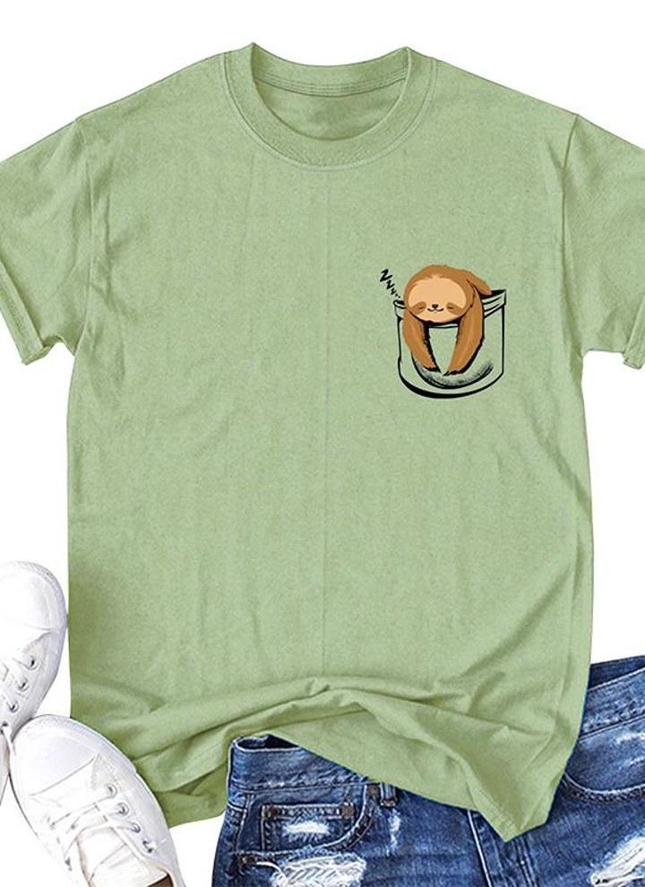 41a54018 Fashion Women Slogan T-shirt Short Sleeves O Neck Monkey Print Plus Size  Cotton Cool