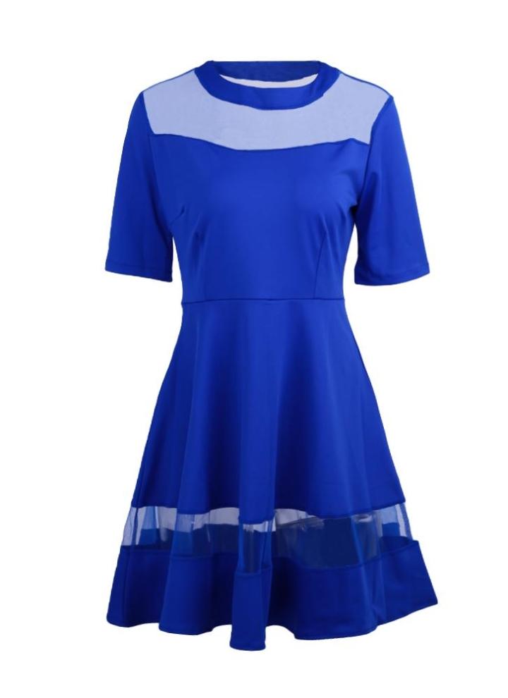 2463ee85d587 Nuova moda donna Mini abito maglia della giuntura O-Neck mezze maniche abito  elegante principessa