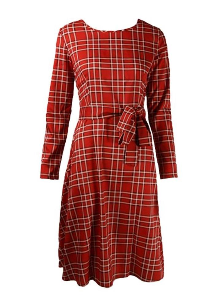 s rot Neue alte Frauen kariertes Kleid langarm Waist Strap Check ...