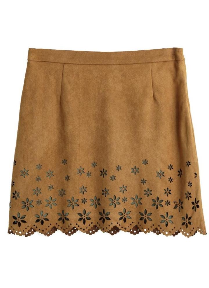 162cf447921e Neue Art und Weise Frauen-Minirock-Veloursleder-Blumen aushöhlen Muster  ausgebogter Rand Slim Fit Khaki