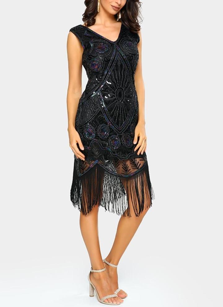 1b68910017d4c Sexy Women Tassel Fringe V-Neck 1920s Flapper Retro Bodycon Sequin Midi  Dress