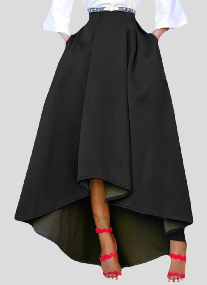 94ed8b2f6093 Mode Frauen hohe Taille High Low gefaltete Midi Rock