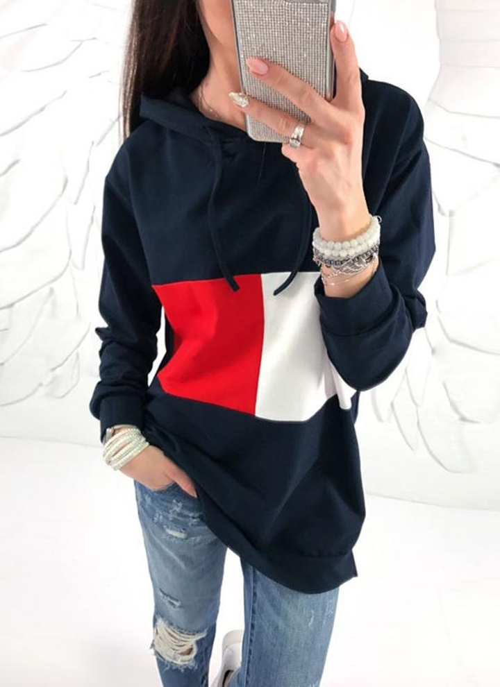 Plunge Damen Hoodie mit Kapuze Sweatshirt Kragen Einfarbiger