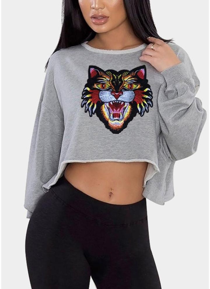 bf25e2d0c Manga comprida para mulheres Camisola mole para impressão de tigre