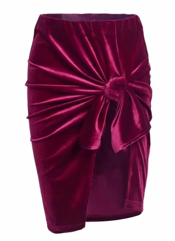 73348694c Falda de mujer delgada Falda de terciopelo con pliegues y espalda abierta  Falda de fiesta elegante y sólida