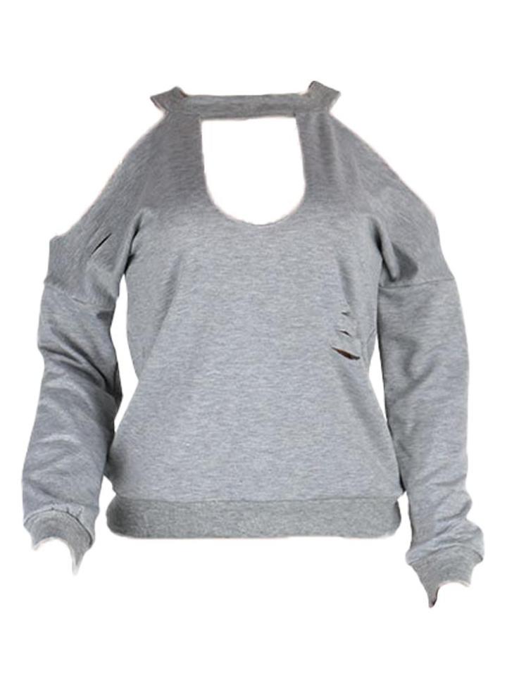 the latest c1fa1 87fe3 Frauen zerrissenen Löcher Hoodie Sweatershirt Long Sleeves Pullover