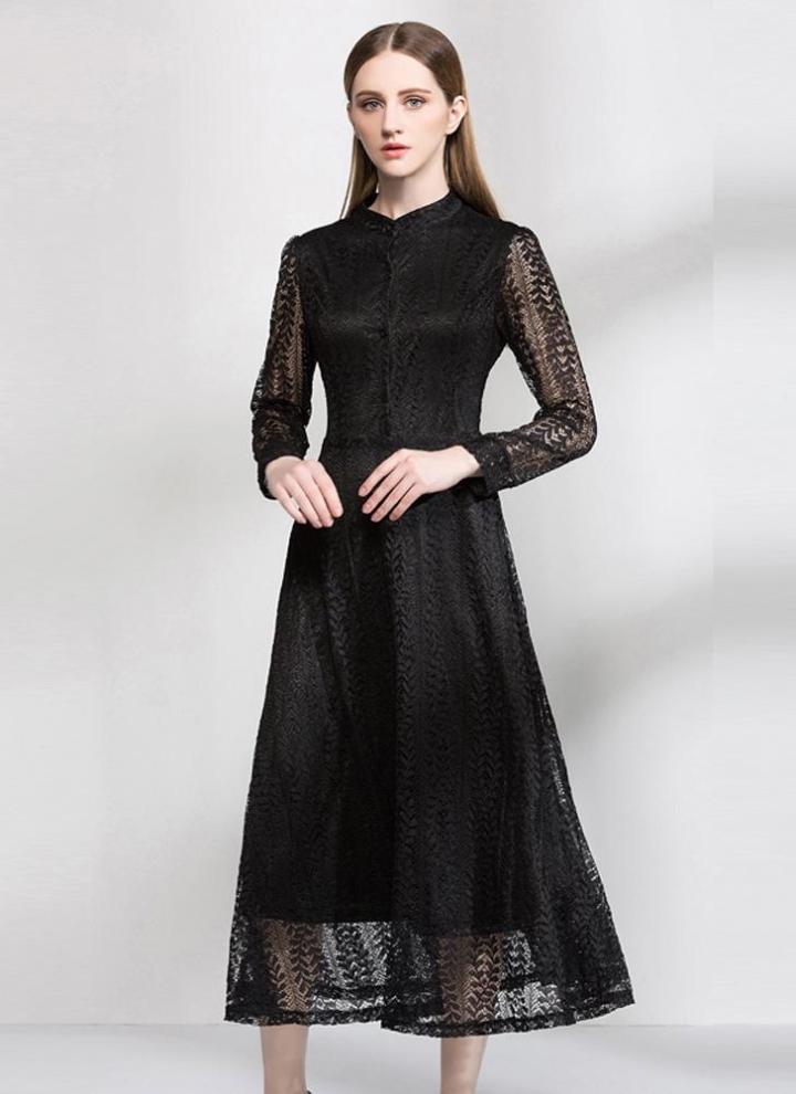971a4e36b627 Vestito sexy dal merletto delle donne eleganti del manicotto lungo di  Hollow Out