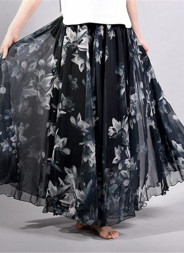 metro negro Boho Floral Maxi cintura alta falda floral de gasa - Chicuu 192aaa82e844
