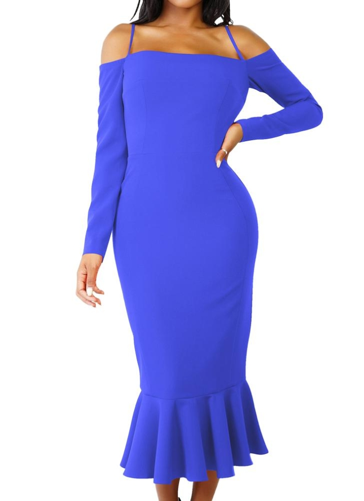 8808647b5e1a Maniche lunghe del vestito dalla sirena dal vestito da partito del partito  della cinghia di spaghetti