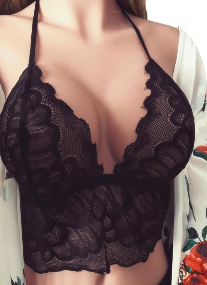 5980be884e665 Women Strappy Lace Bra Set Eyelash Lace Elastic Wireless Unpadded Sheer  Bikini Lingerie Bralette Briefs Black